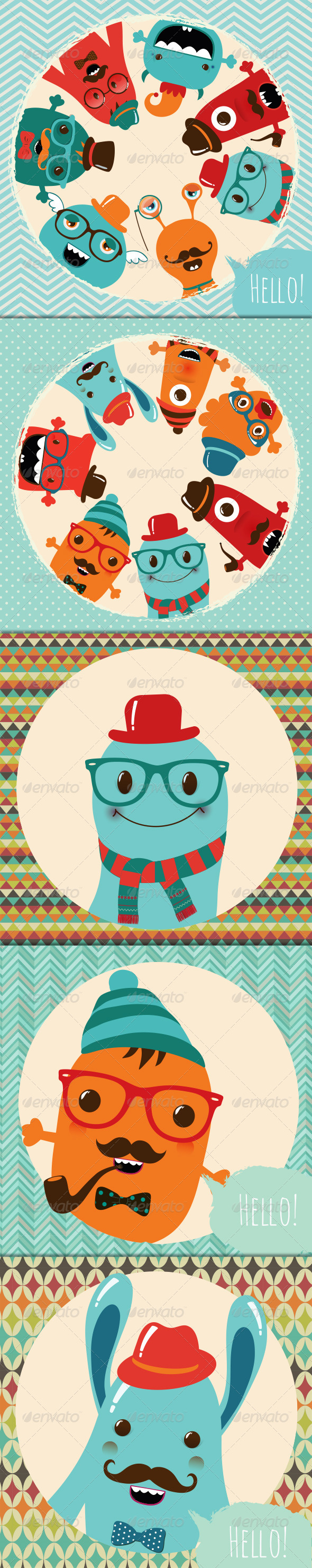 GraphicRiver Banner Backgrounds with Hipster Monsters 7219319