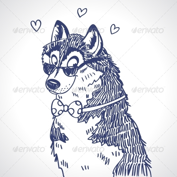 GraphicRiver Husky sketch 7219327