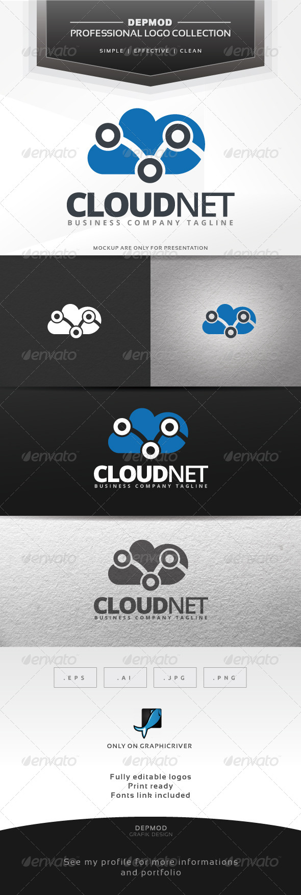 GraphicRiver Cloud Net Logo 7219330
