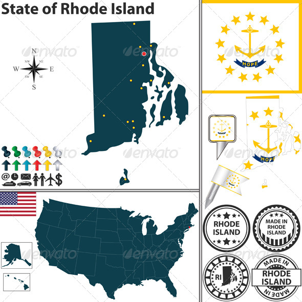 GraphicRiver Map of state Rhode Island USA 7220393