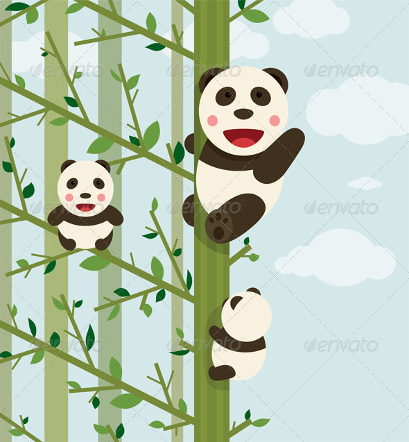 GraphicRiver Kawaii Bears in Forest 7220473