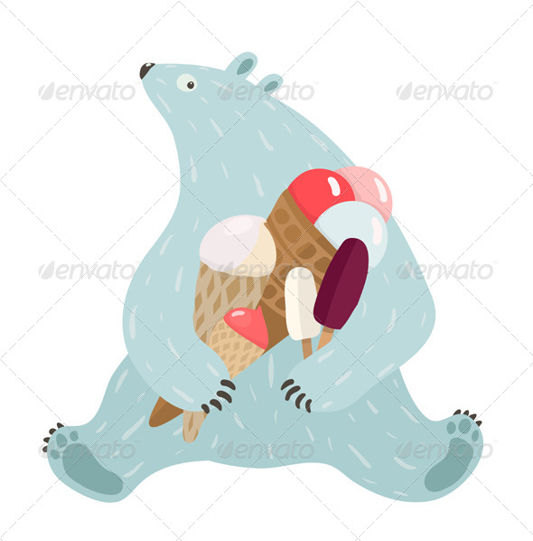 GraphicRiver Polar Bear and Ice Cream 7221010