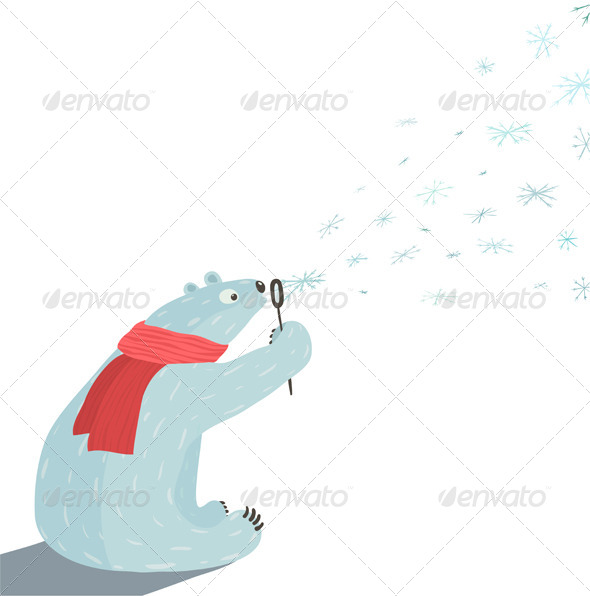 GraphicRiver Polar Bear Blowing Snowflakes 7221158
