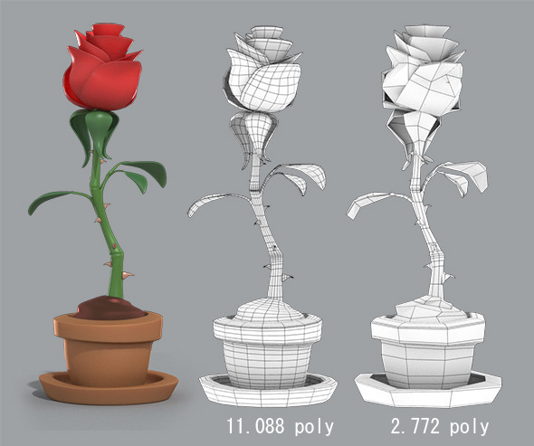 3DOcean Cartoon Rose in the pot 7221976
