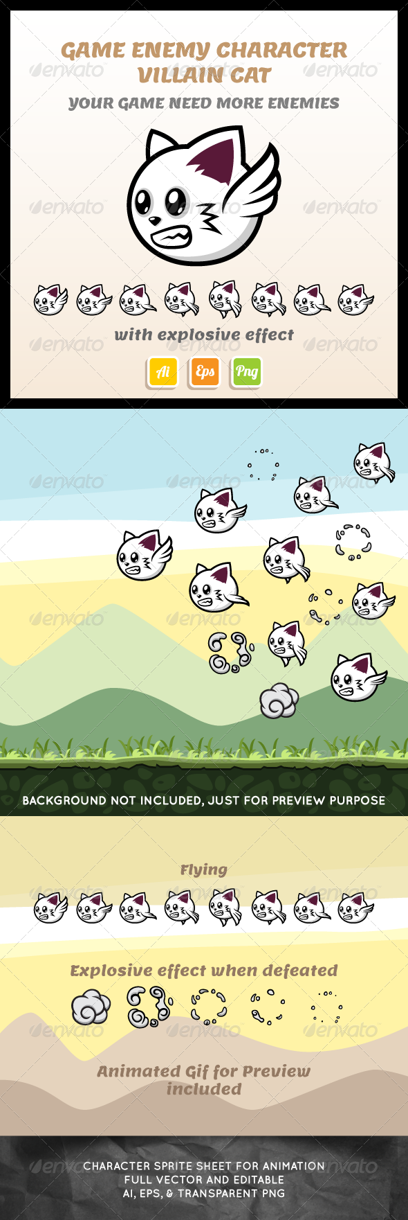 GraphicRiver Villain Cat Sprite Sheet 7222941