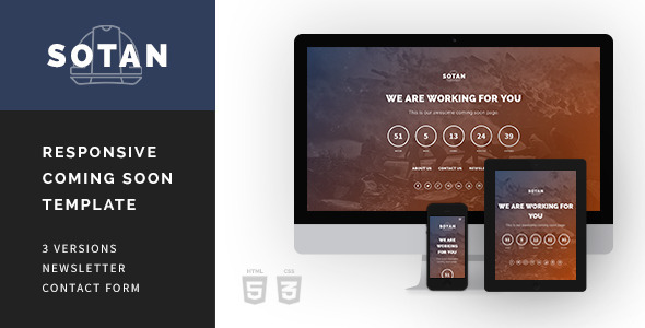 ThemeForest Sotan Responsive Comig Soon Template 7223048