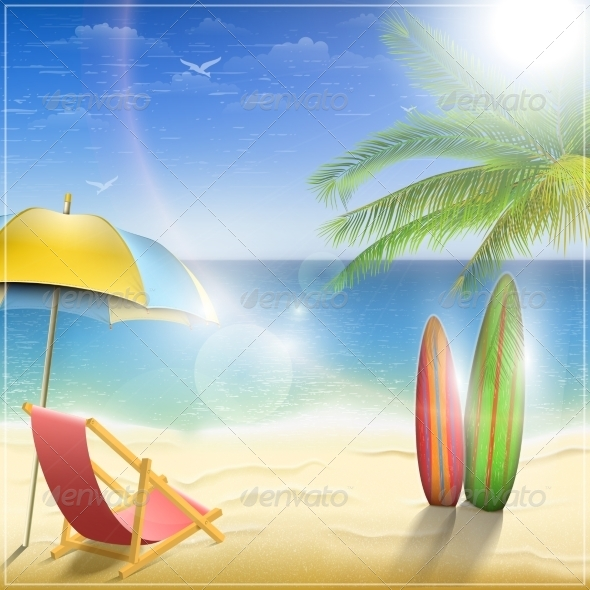 GraphicRiver Sunny Ocean Coast with Palm 7223057