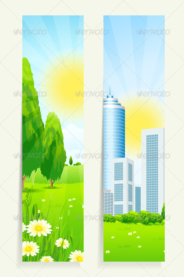 GraphicRiver Two Vertical Banners with Nature and City 7223074