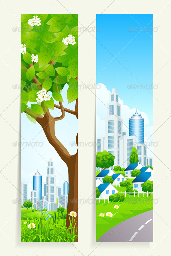 GraphicRiver Two Vertical Banners with City 7223084