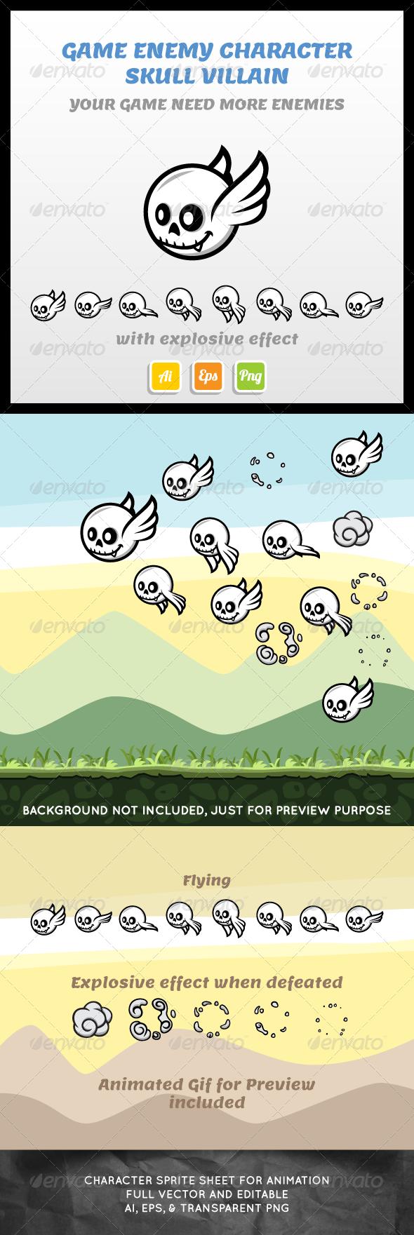 GraphicRiver Villain Skull Sprite Sheet 7223165