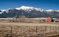 Red Barn Endures Mountain Winter Wallowa Whitman National Forest - PhotoDune Item for Sale