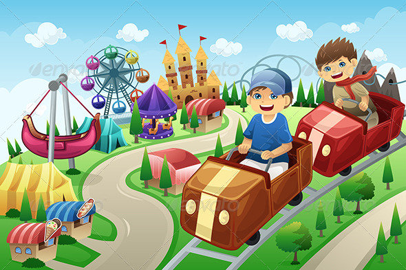 GraphicRiver Kids Having Fun in an Amusement Park 7224201