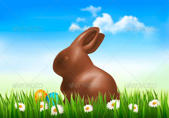 GraphicRiver Holiday Easter Background with Chocolate Bunny 7224202
