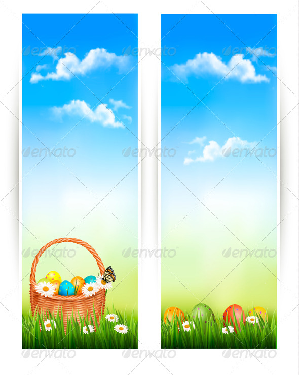 GraphicRiver Easter Banners with Easter Eggs in Basket 7224205