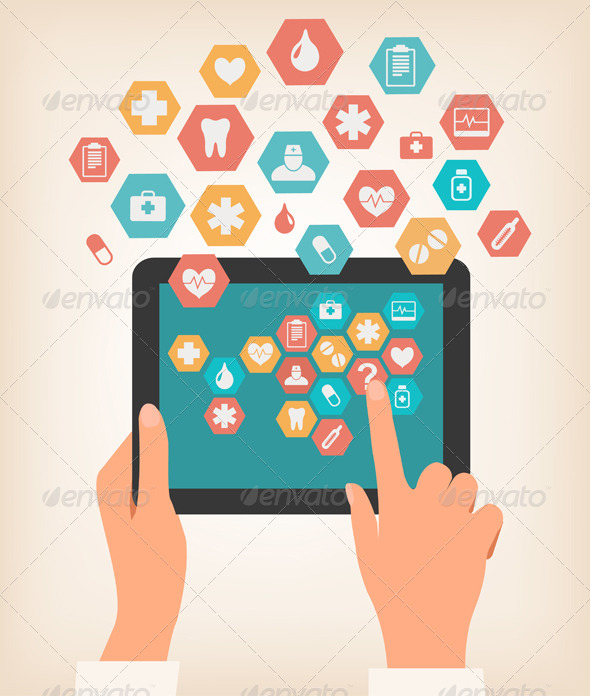 GraphicRiver Touching Screen of a Tablet with Medical Icons 7224228
