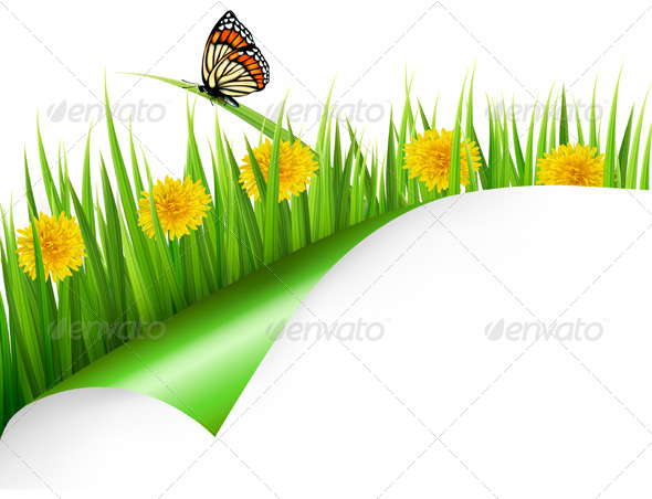 GraphicRiver Summer Background with Dandelions and Butterfly 7224245