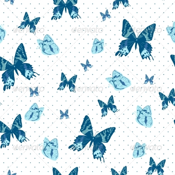 GraphicRiver Vintage Seamless Background with Butterflies 7224246