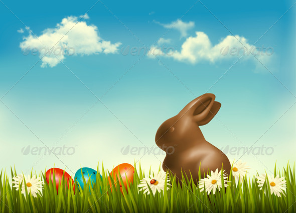 GraphicRiver Chocolate Bunny with Easter Eggs in Grass 7224251