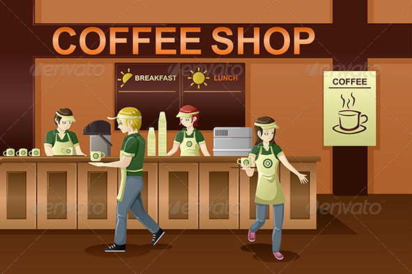 GraphicRiver People Working in a Coffee Shop 7224269
