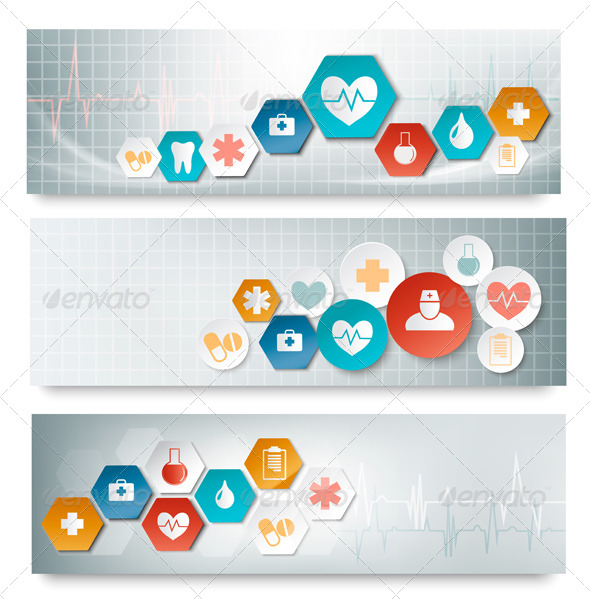 GraphicRiver Three Medical Banners with Icons 7224270