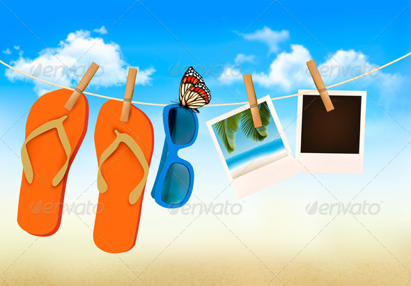 GraphicRiver Flip Flops Sunglasses and Photo Cards 7224276