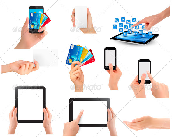 GraphicRiver Set of Hands Holding Different Business Objects 7224277