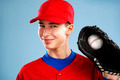 portrait of a beautiful teen baseball player in red and white un - PhotoDune Item for Sale