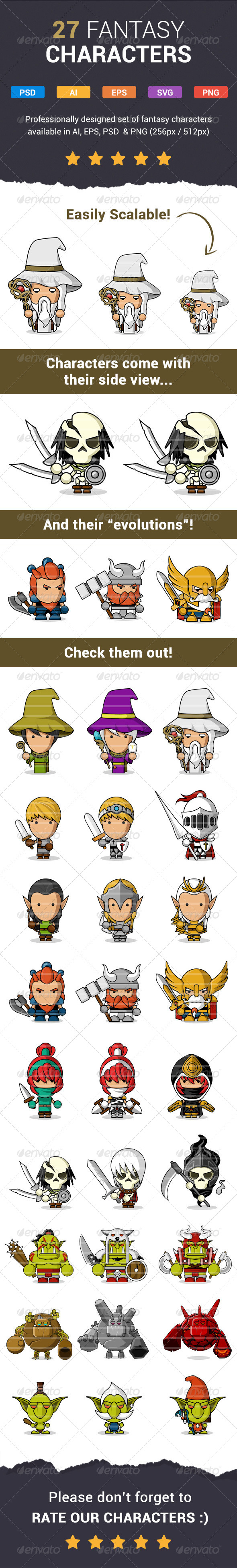 GraphicRiver 27 Modern Fantasy Characters 7170090