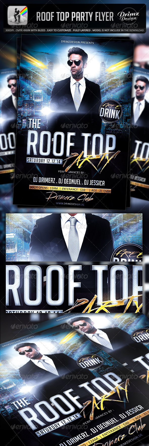 GraphicRiver Roof Top Party Flyer 7225518
