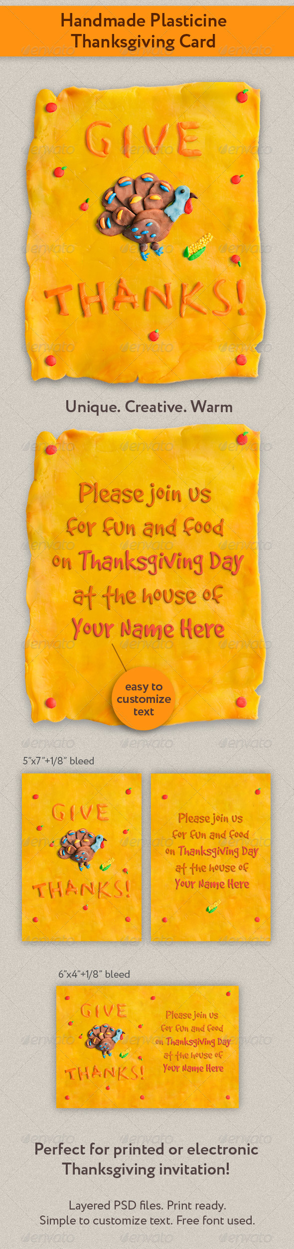 Graphic River Handmade Plasticine Thanksgiving Card Print Templates -  Cards & Invites  Greeting Cards  Holiday 756871