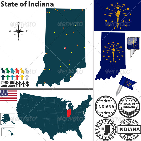 GraphicRiver Map of state Indiana USA 7225586
