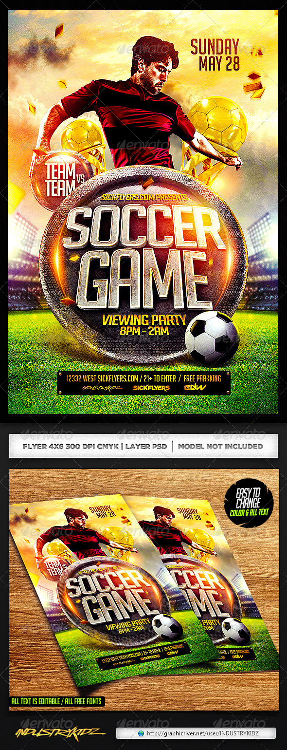 GraphicRiver Soccer Flyer Template PSD 7225599