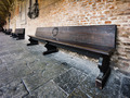 wooden bench in old church courtyard - PhotoDune Item for Sale