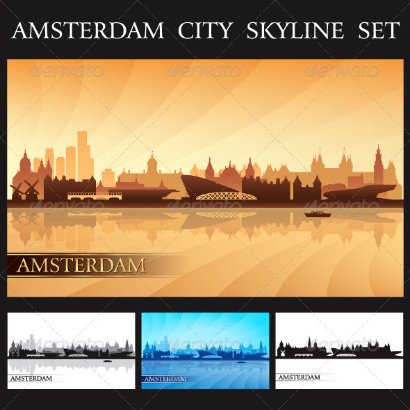 GraphicRiver Amsterdam City Skyline Silhouettes Set 7225659