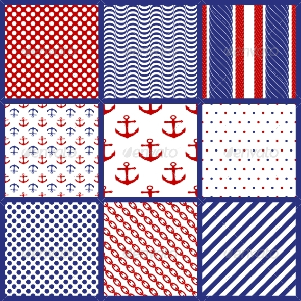 GraphicRiver Set of Geometric Patterns in Marine Style 7226348