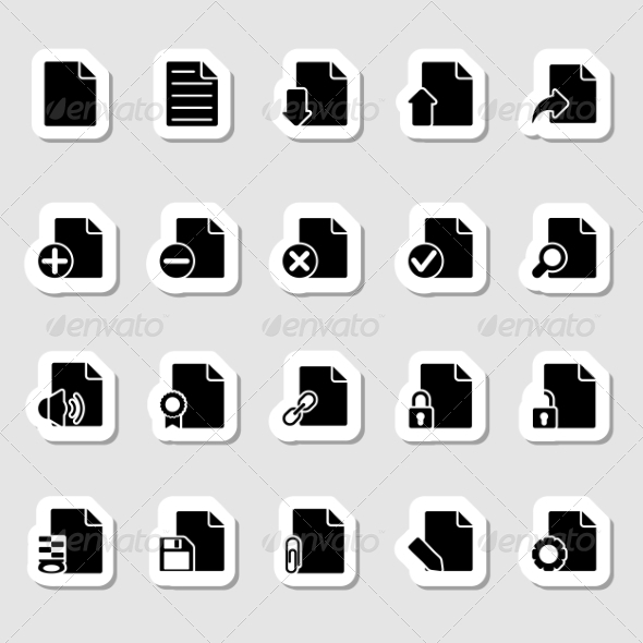 GraphicRiver Documents Icons Set as Labels 7227716