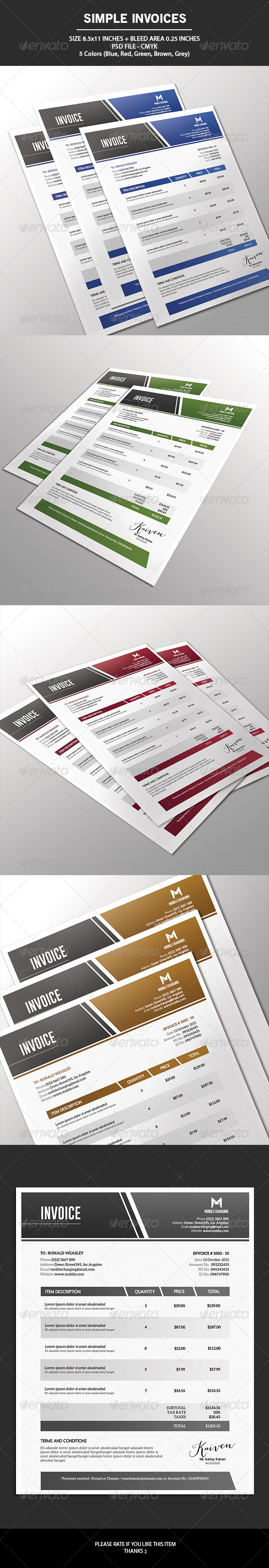 GraphicRiver Simple Invoices 7227724