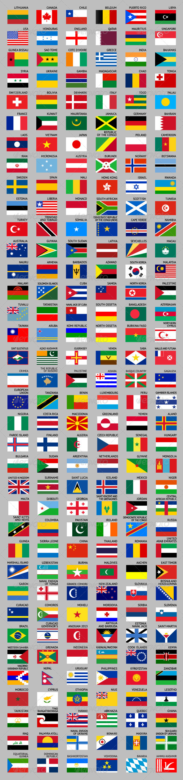 GraphicRiver 216 Flags of World 7228018