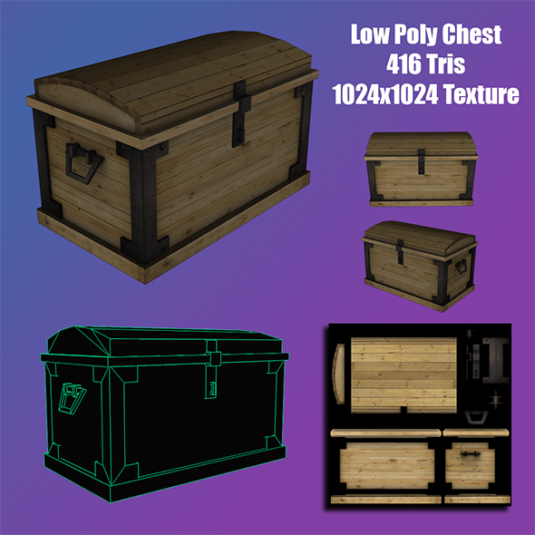 3DOcean Low Poly Treasure Chest 3D Model 7203280