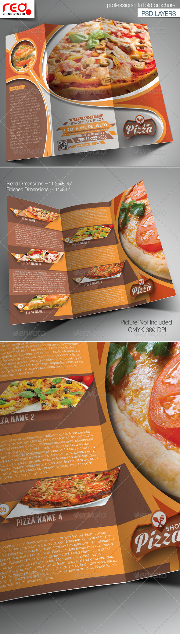 GraphicRiver Pizza Shop Trifold Brochure Template 7228096