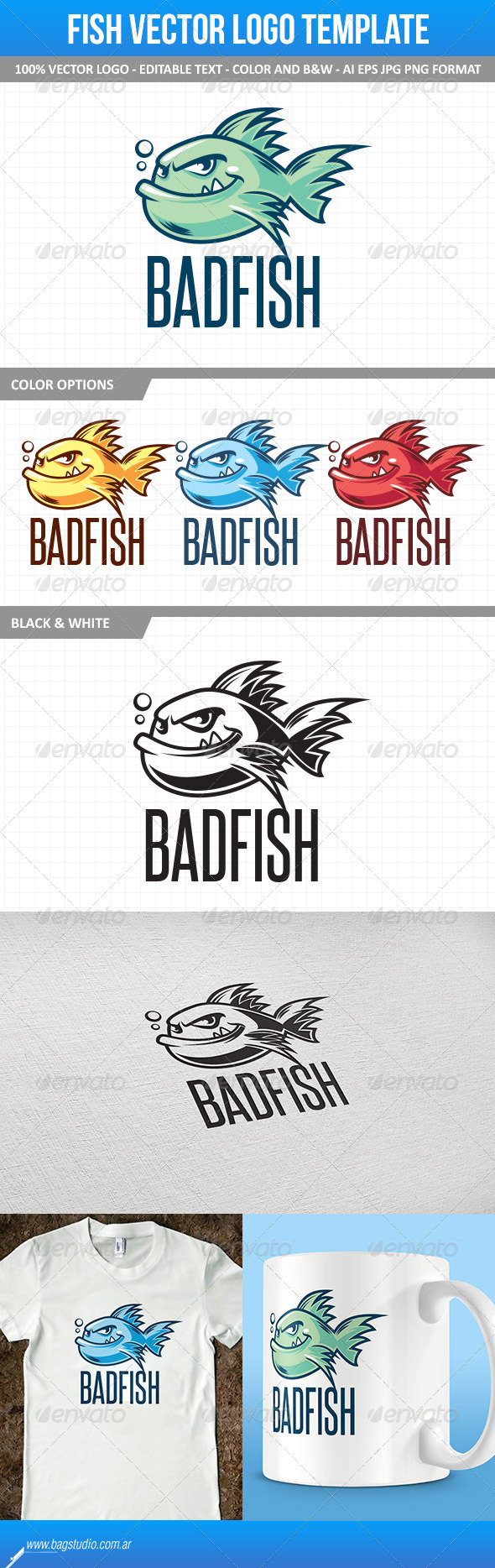 GraphicRiver Fish Mascot Vector Logo Template 7228344