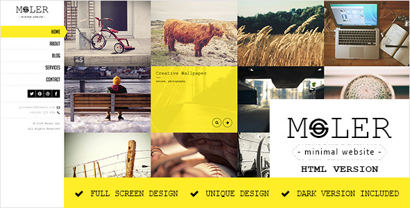 ThemeForest Moler Full Screen Portfolio Template 7228365