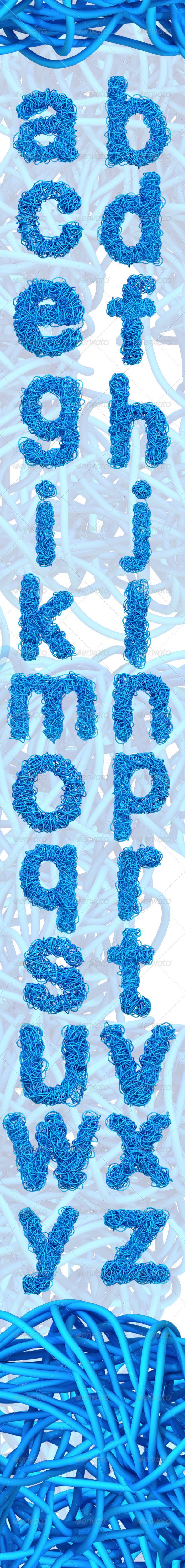 GraphicRiver Blue Cable Alphabet Lowercase 7228366