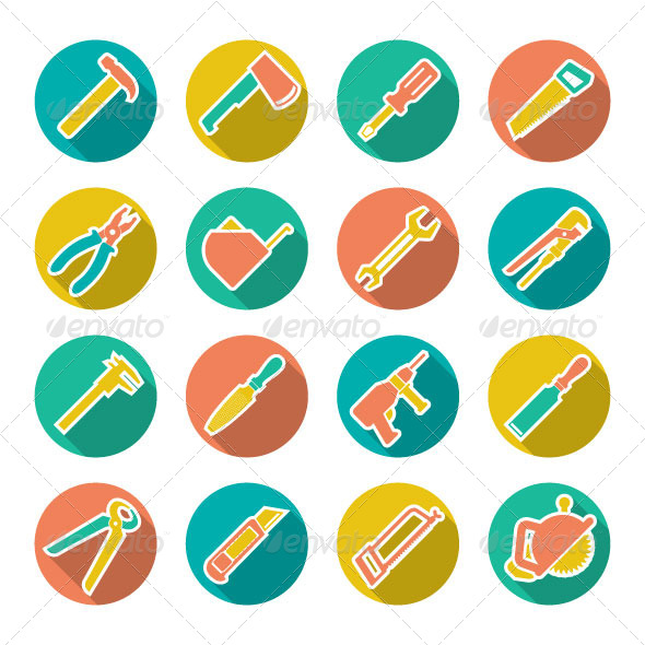 GraphicRiver Set Flat Icons of Tools for Repair and Building 7228551