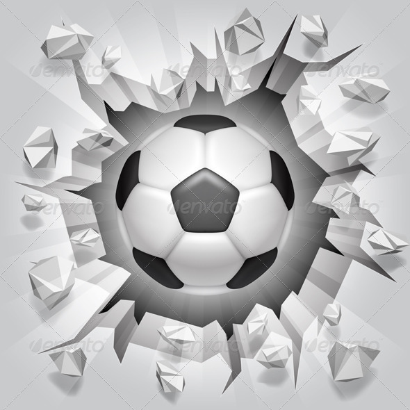 GraphicRiver Soccer Ball and Cracked Wall 7228819