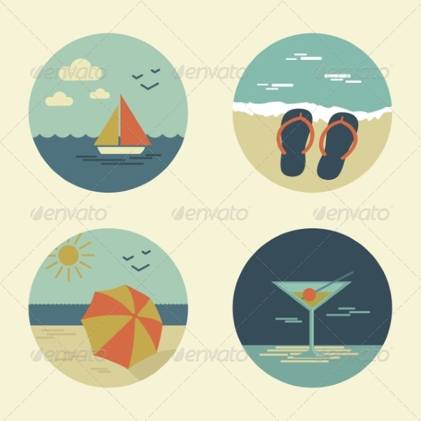 GraphicRiver Summer Icons Retro 7228824