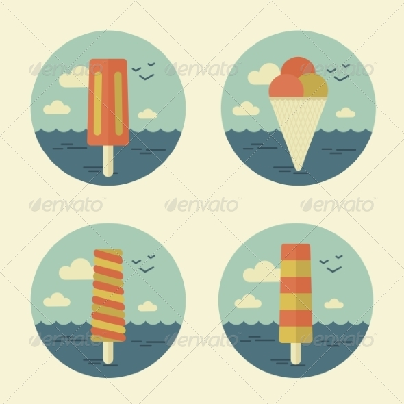 GraphicRiver Summer Icons Retro 7228827