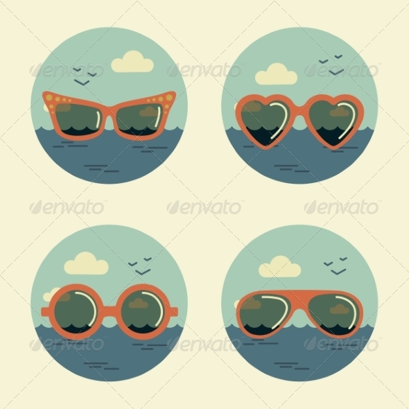 GraphicRiver Summer Icons Retro 7228829