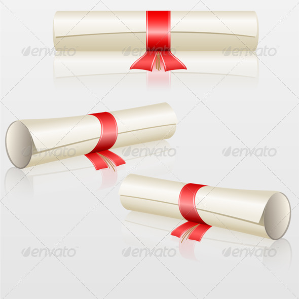 GraphicRiver Scrolls with Red Ribbon Set 7228856