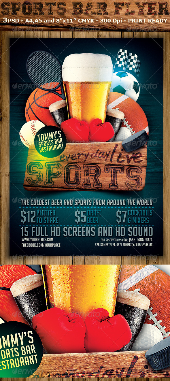 GraphicRiver Sports Bar Flyer Template 7200497